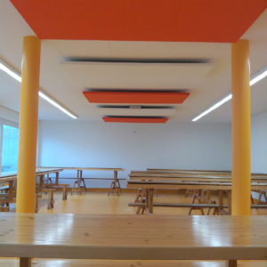 ABSOPANEL sound absorbing panels decorate walls and ceilings whilst soundproofing a room.