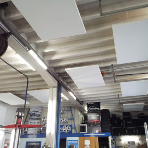 Mounting ABSOPANEL sound absorbing panels directly on the ceiling of an automobile garage