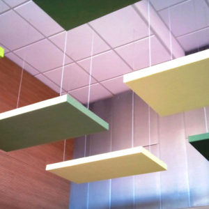 Suspended from the ceiling, ABSOPANEL sound absorbing panels absorb noise and prevent reverberation.