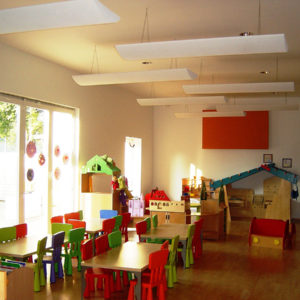 Example of ABSOPANEL sound absorbing panels in a nursery to reduce resonance in the room.