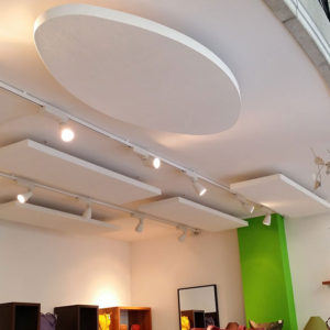 Sticking ABSOPANEL sound absorbing panels directly to the ceiling