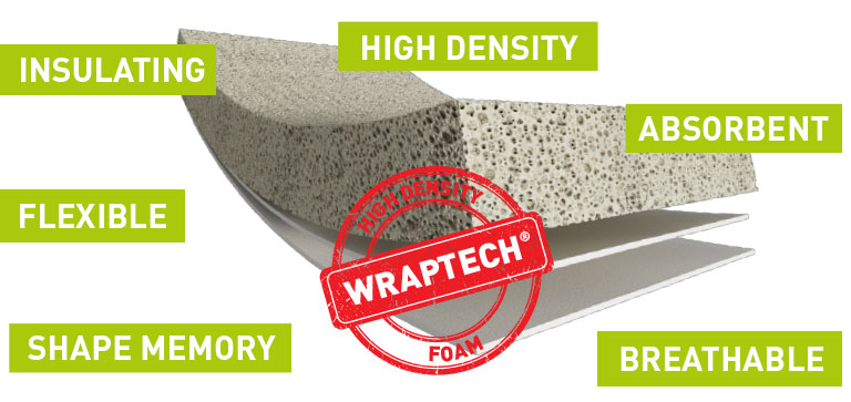 Discover the characteristics of Wraptech high-density latex foam