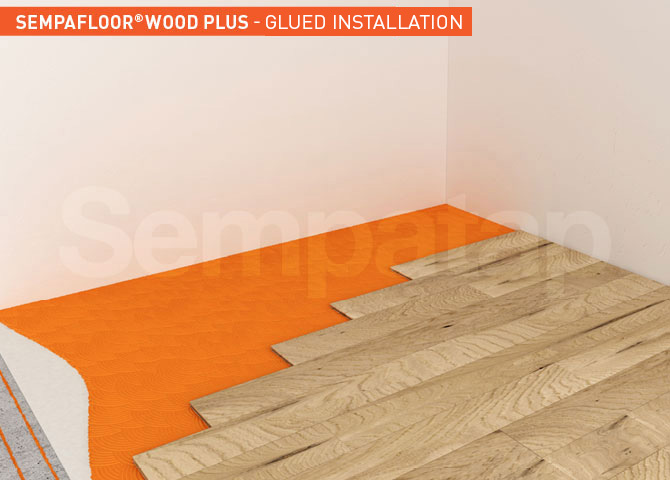 SempaFloor Wood Plus, soundproofing insulation under glued parquet
